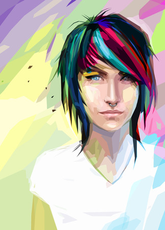 Low poly abstract portrait of the punk girl with blue eyes. Girl with varicoloured hair and piercings in the nose. Poster with cool young teenage.