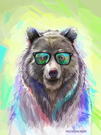 cartoon animal: Cool low poly hipster animal, bear portrait. Background with wild animal. Low poly spectacled bear with fluffy fur. Vector illustration eps 10