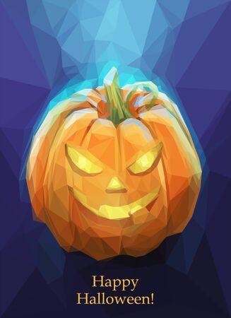 Low-Poly-Polygon Kürbis für Halloween auf einem blauen Hintergrund. Coole gespenstische Plakat. Standard-Bild - 44173350