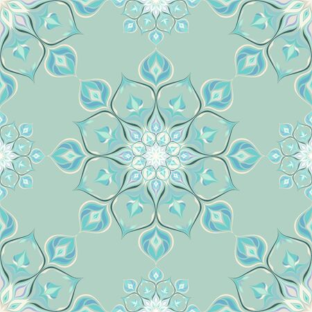 Colored mandala pattern with beautiful ornament. Can be used for textiles, book design, pattern fills, web page background, surface textures, scrapbooking. Vector illustration eps 10. Stock Illustratie