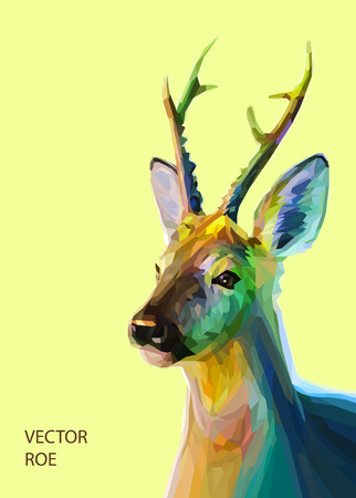 Colorful roe illustration.  Background with wild animal. Low poly roe with horns.