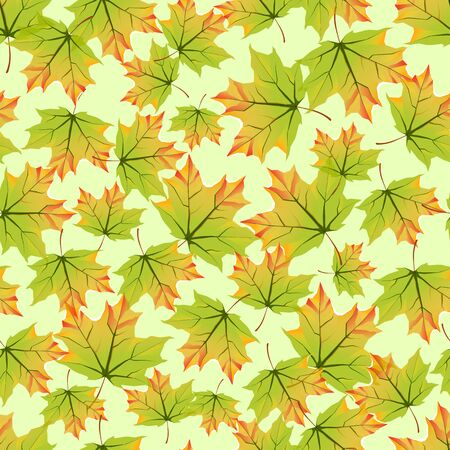 Seamless pattern with colorful autumn leaves. Brilliant background for design. Vector illustration.