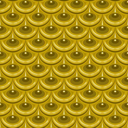 Seamless gold shiny river fish scales. Dragon scale. Brilliant background for design.