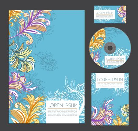 Beautiful corporate identity with feathers. Design for letterheads, flyers, business cards and cd disk.
