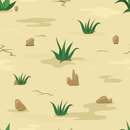 Seamless sand texture  with stones and grass bushes. Vector illustration