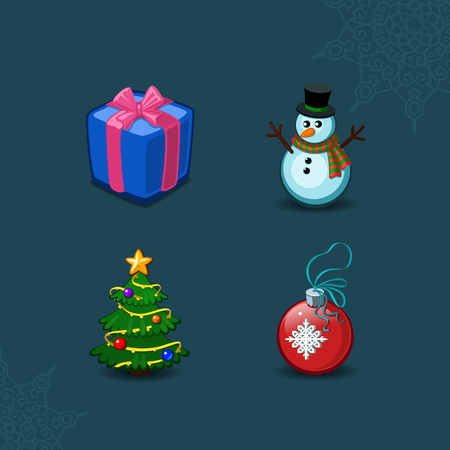 Weihnachts-Icons Objekte Sammlung. Detaillierte Vektor-Illustration eps 10 Standard-Bild - 46350377