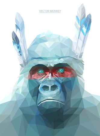 stylized: Colorful monkey illustration.  Background with wild animal. Low poly gorilla with feathers.Native American monkey.