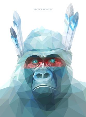 dieren: Kleurrijke aap illustratie. Achtergrond met wilde dieren. Lage poly gorilla met feathers.Native Amerikaanse aap.