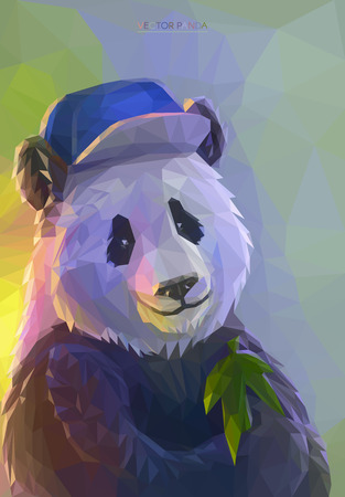 Lowpoly portrait of funny panda wearing a hip-hop cap. Cool poster with colorful bear. Vector illustration eps 10.