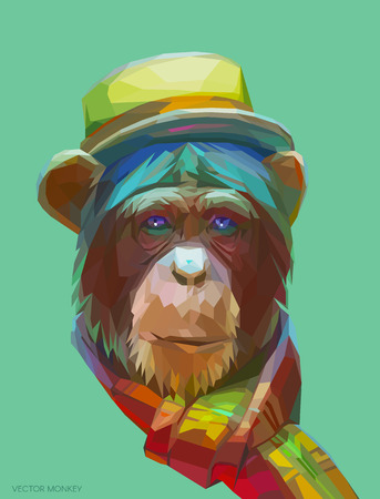Portrait of a hipster-chimpanzee in a bright hat and scarf. Colorful monkey illustration.  Background with wild animal. Stock Illustratie
