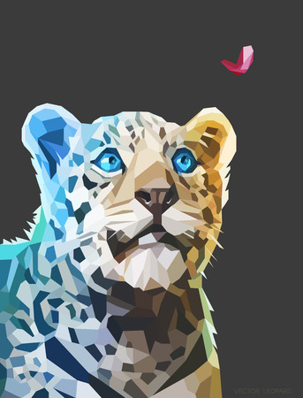 Low poly geometric portrait of a leopard looking at heart, triangular shape mosaic on dark background.