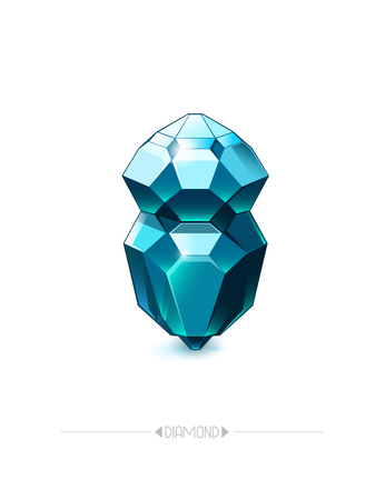 Diamond isolated on white background. Poster with beautiful gem. Vector illustration