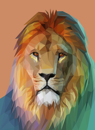 Lion Portrait. Low-Poly-Design. Polygonal Illustration Vektor eps 10 Standard-Bild - 64962887