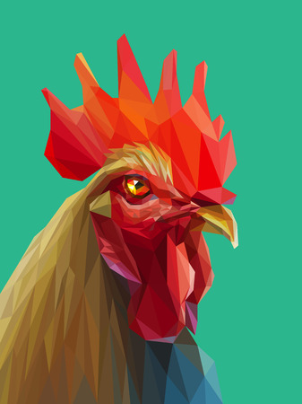 Beautiful colorful and bright polygon rooster. Vector illustration for your graphic design. Eps 10