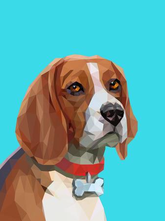 Triangle low poly portrait of beagle dog. Animal portrait. Vector illustration eps 10