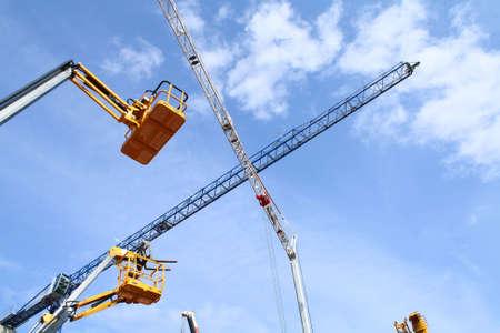 Group of Jib cranes at work photo