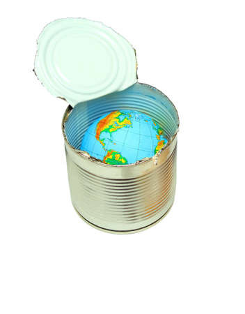 canned food: Canned food the globe, can it is required to keep our globe almost in canned food Stock Photo