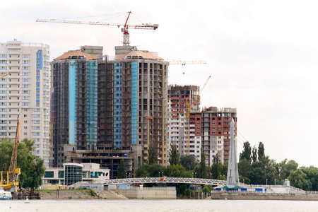 Panorama of construction of new city photo