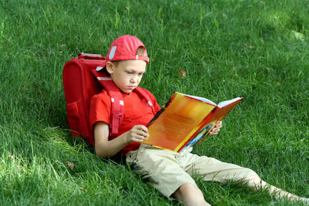 The boy during a school vacation has a rest in a wood reading the book