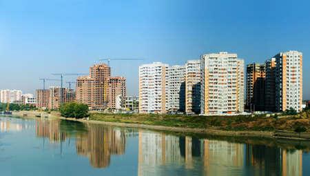 panoramas: Panoramas of construction of city area about the river Stock Photo