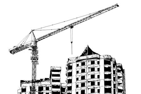 Construction of a modern office building with a crane