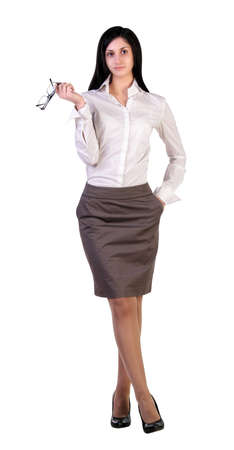 receptionists: A young woman entrepreneur, is thinking about the processes