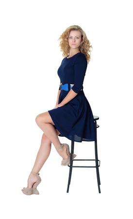 stool: Girl sitting, bar stool, blonde, studio, dress