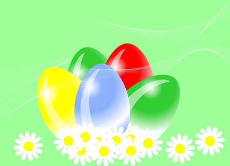 easter eggs and marguerites Stock Photo - 2451316