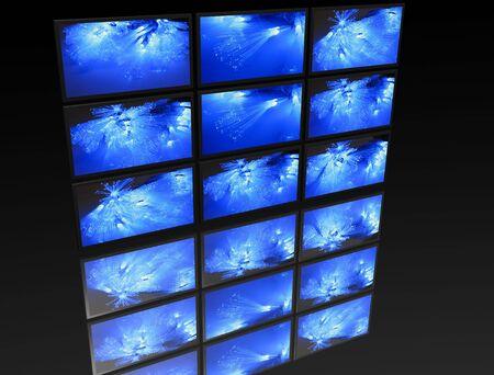 big panel of TV�s on black background Stock Photo