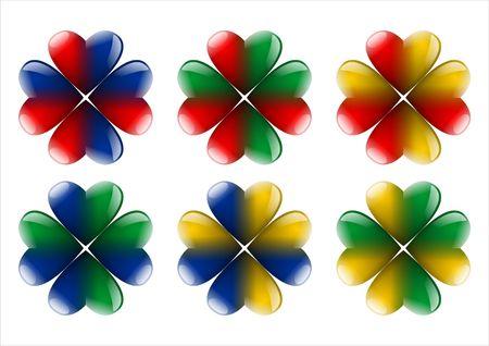 zes kleuren quarterfoils geïsoleerd op witte achtergrond