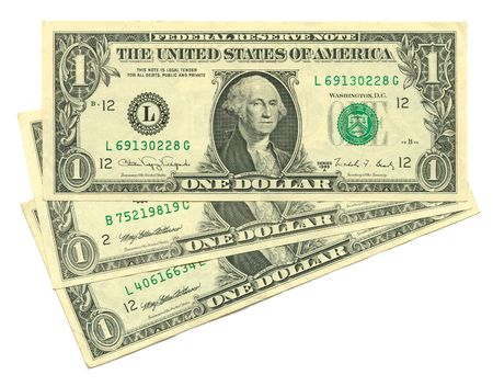 three dollars isolated on white background Stock Photo