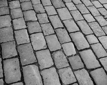 black and white close-up paving