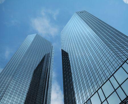 skyscrapers against blue sky in Frankfurt