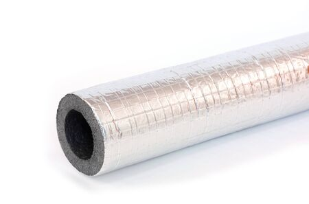 insulating pipe on white background