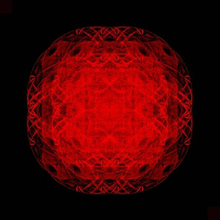 abstract fractal red circle on black background