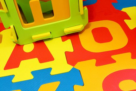 multicolored alphabet 3d puzzle background Stock Photo - 5776542