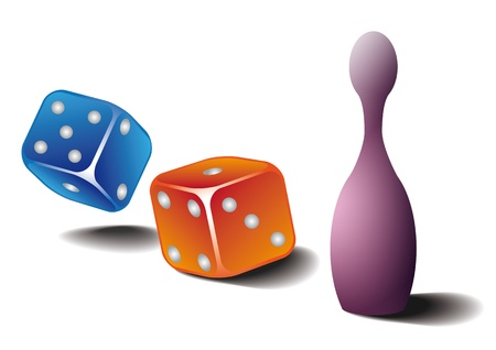 vector dice and figurine on white background Stock Vector - 16933528