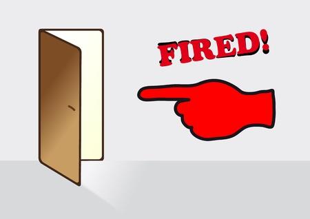 despido: despido, despedir a un empleado, usted es despedido Vectores