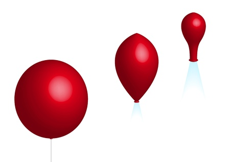 deflation: deflation; three red balloons on white background