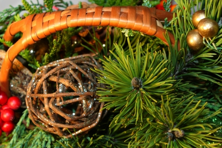 Christmas decoration basket with green twig