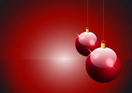 two red Christmas balls hanging on string with copy space Vector