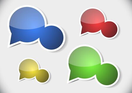 four colorful speech bubbles as stickers and labels with white borders Vector