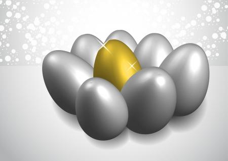 golden egg illustration between white eggs on background Stock Vector - 17807164