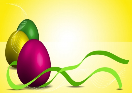 Easter eggs illustration with green ribbon over yellow background Stock Vector - 17954163