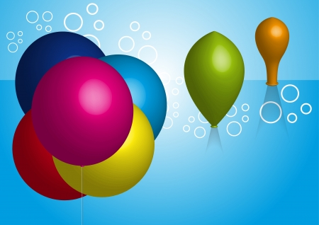 deflation; group colorful balloons on blue background Illustration