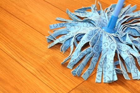 sweeper blue wet mop on laminate floors