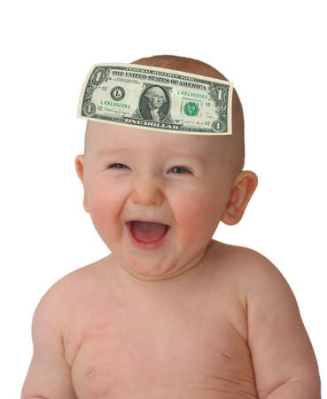 smiling baby with glued dollar on head over white background photo