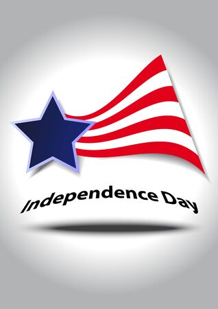 Independence Day illustration with US symbol and text Vector