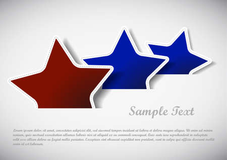 red and blue stars illustration with sample text Vector