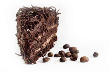 piece of chocolate cake with coffee beans Stock Photo